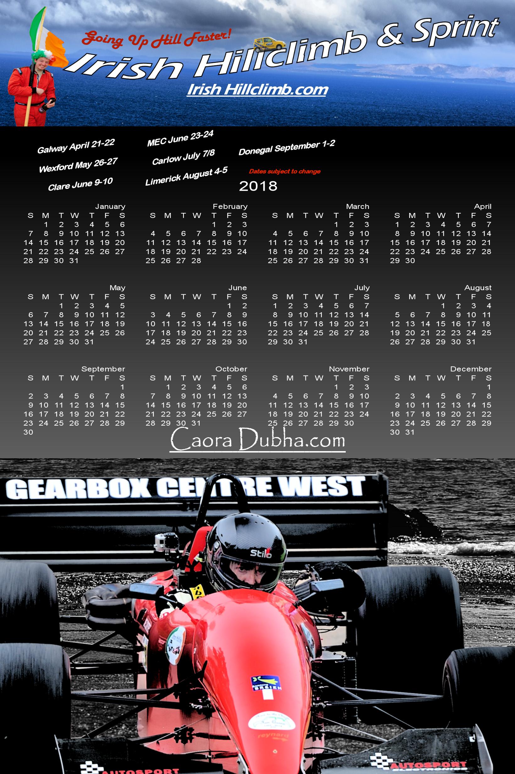 2018 Calendar  | Caora Dubha com